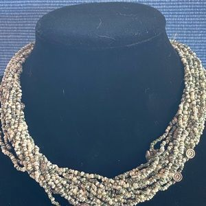 Jewelry - Necklace - Grey and White Beaded Multi Strand